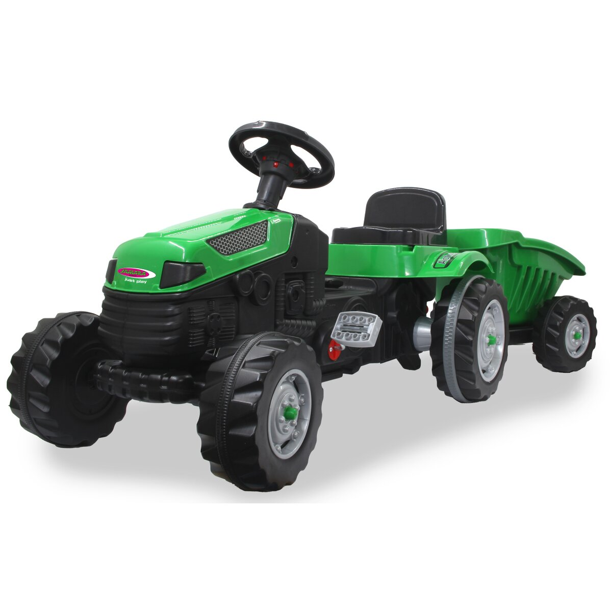Jamara Šlapací traktor Strong Bull s přívěsem zelený