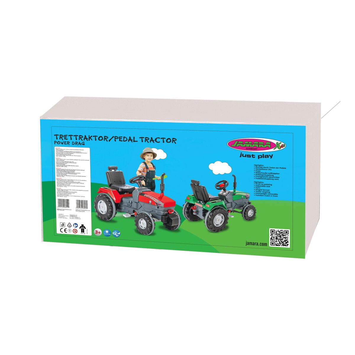 Jamara Šlapací traktor Power Drag červený